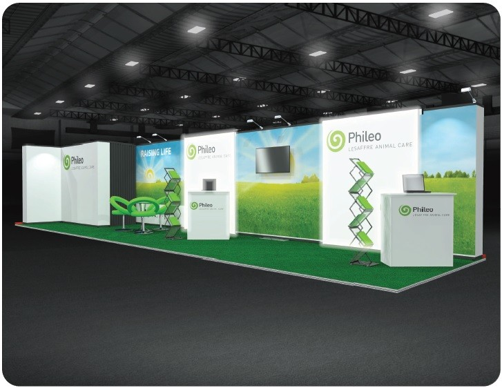 Phileo Modular Exhibition Stand with staff in images